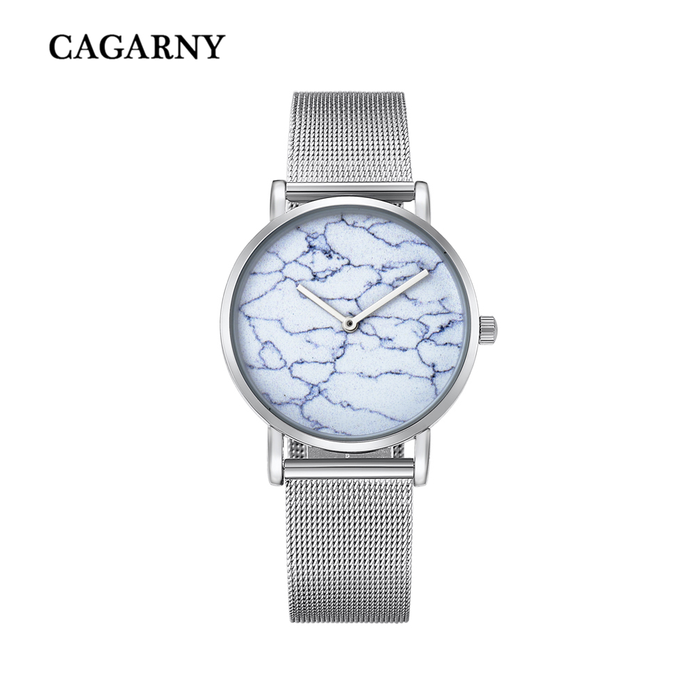 top luxury brand cagarny quartz watch women silver stainless steel mesh band simple style ladies wrist watches waterproof 2019 trendy (1)
