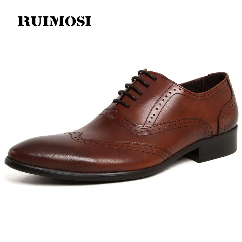 RUIMOSI British Style Man Wing Tip Brogue Shoes Genuine Leather Bridal Oxfords Pointed Toe Men's Dress Flats For Wedding UH96