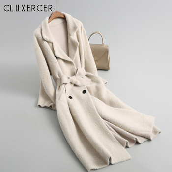 2018 New Fashion Autumn Winter Trench Coat For Women Casual Knitting Thickened Warm Loose Womens Overcoat Windbreakes