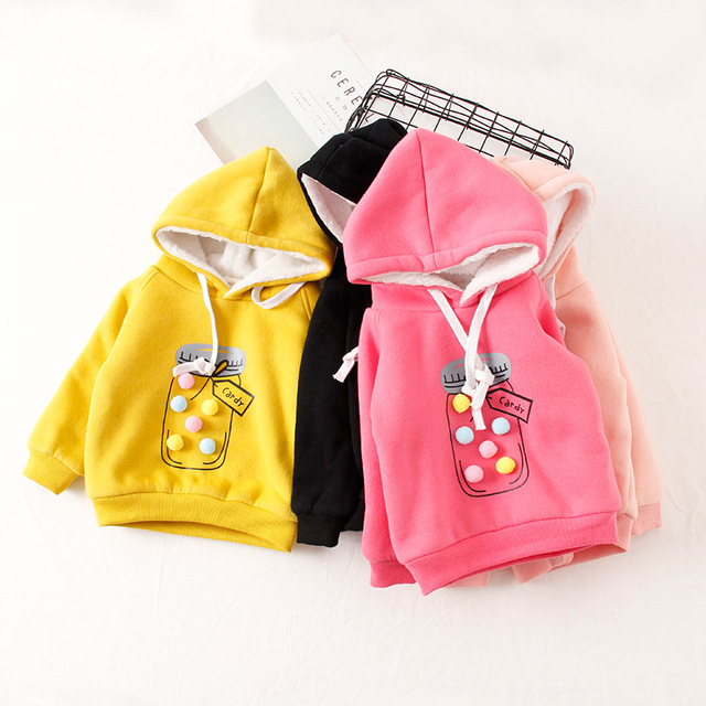 e78cc98a4 V TREE plus velvet winter children jackets cartoon girls hoodies ...