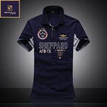Летние Новые мужские бутик вышивка дышащий 100% хлопок рубашки поло лацкане Мужская Air Force One для отдыха Бизнес футболка-поло