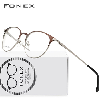 76d814cd40 Gafas de aleación de titanio marco hombres ultraligero mujeres Vintage  redondo prescripción gafas Retro marco óptico sin tornillos gafas