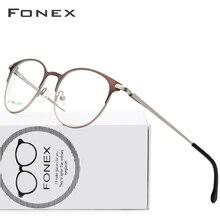 3ba06044db Aleación de titanio gafas hombres ultraligero las mujeres Vintage redondo  prescripción gafas Retro marco óptico sin