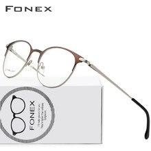a55f4f1d9c8de Aleación de titanio gafas hombres ultraligero las mujeres Vintage redondo prescripción  gafas Retro marco óptico sin tornillos ga.