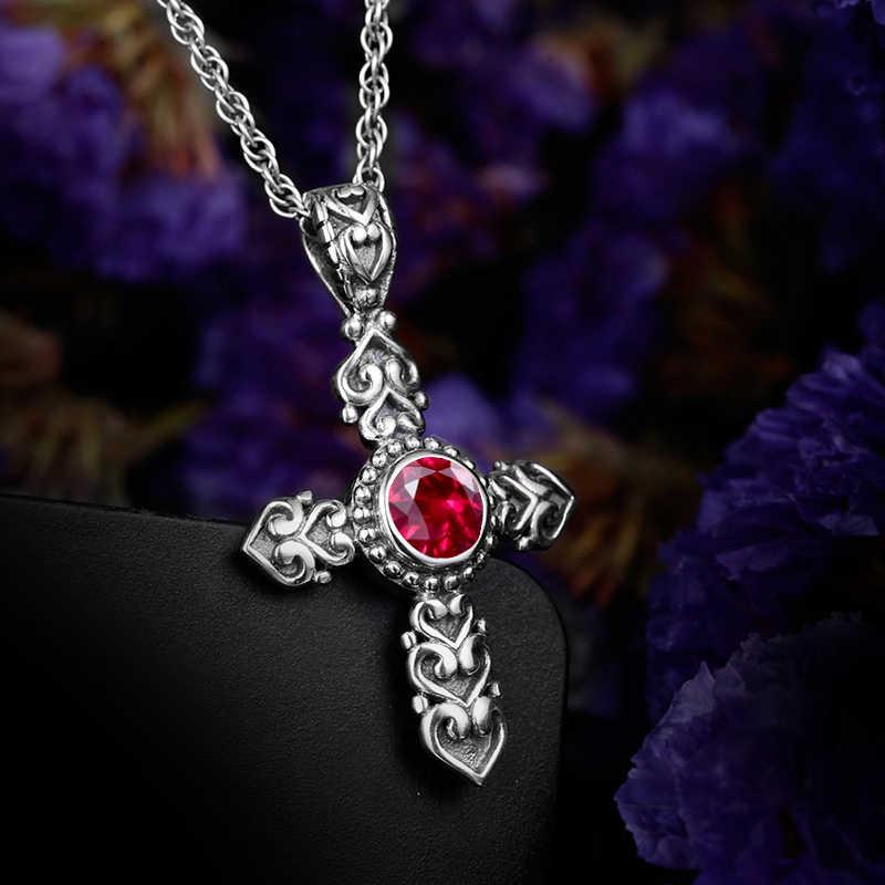 Cao Cấp Túi Đeo Chéo Cổ Công Chúa Cắt Phòng Ruby CZ Đá Vitnage Mặt Vòng Cổ Cho Nữ Mặt Dây Chuyền Trang Sức Bạc 925