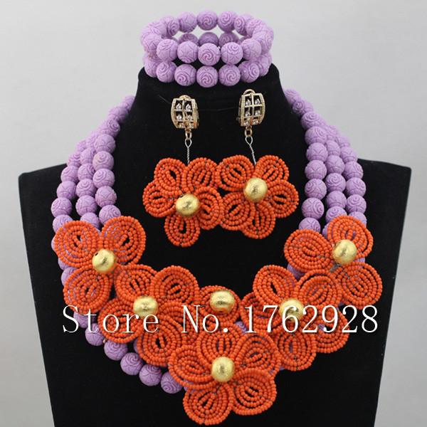 Superior Orange Women African Costume Jewelry Set Arabic Dubai Wedding Bridal Jewelry Set Flower Brooch Free Shipping C0001149
