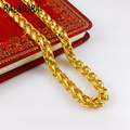 New Fashion,Wholesale Colorfast 60cm long 8mm Wide 24K Gold Plated Necklaces Horsewhip Chains for Men Male,Free Shipping B040