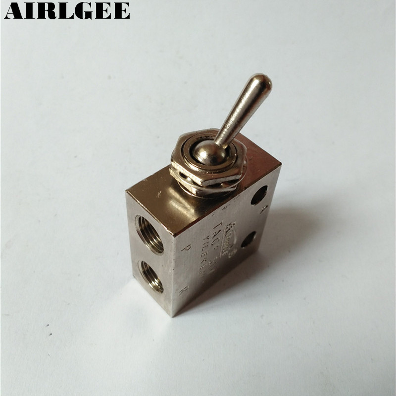 1/8PT Thread 2 Position 3 Way Rectangle Mechanical Air Pneumatic Valve kkp 15 g 1 2 thread air operating one way silver tone quick exhaust valve