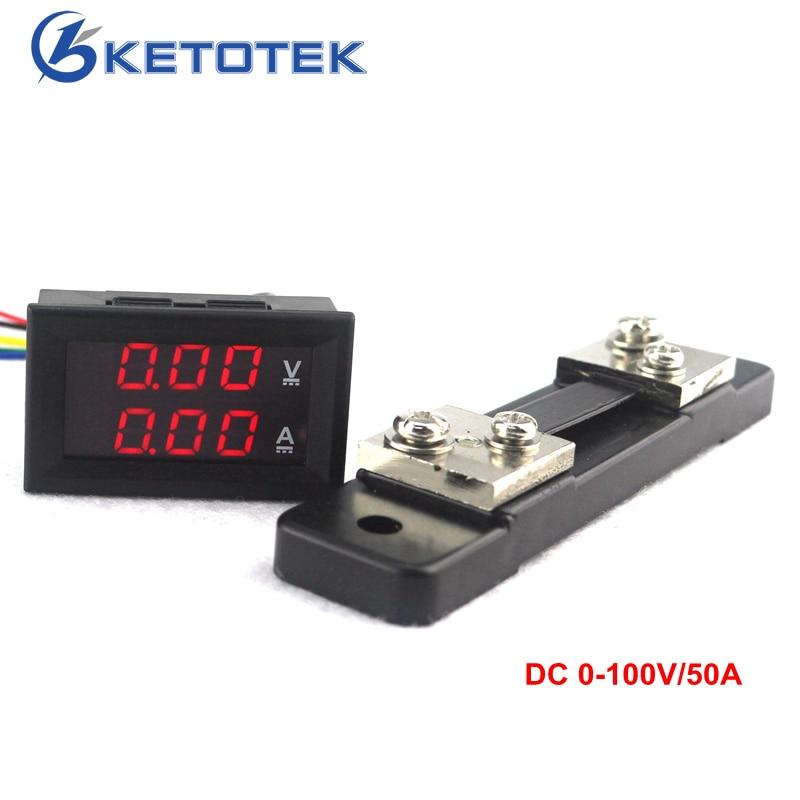 Mini 2 en 1 DC 0-100 V/50A voltímetro amperímetro Detector de voltaje LED Monitor de corriente amperímetro con 50A resistencia de derivación