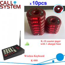 Wireless slim queue take meals equipment coaster pager 1 transmitter 10 receivers 1 charger base