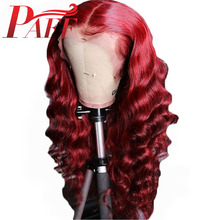 PAFF 13x6 Lace Front Human Hair Wigs Colored Red Loose Wave Wig Malaysia Remy Hair Bleached Knots Lace Front Wigs With Baby Hair