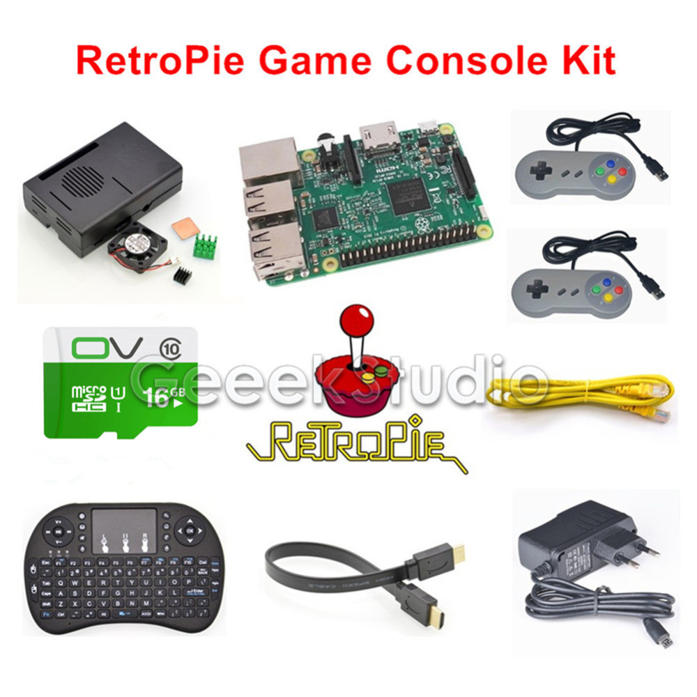 Raspberry Pi 3 Model B 16GB RetroPie Game Console Kit with 2pcs SNES Gamepads with 5V 2.5A Optional EU/US/UK/AU Power Supply стоимость