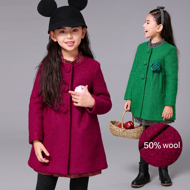New arrival girl over coat,Child winter wool coat, classic girls coat for 110-160cm tall free shipping top quality 50% wool coat pink wool coat doll clothes with belt for 18 american girl doll