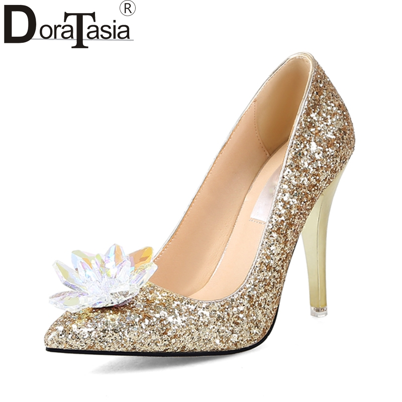 DoraTasia  2018 Large Size 34-43 Pointed Toe Women Shoes Woman Sexy Bling Slip On Thin High Heels Party Wedding Pumps enmayer spring autumn women fashion wedding pumps shoes rhinestone beading pointed toe slip on thin heels large size 34 43 white