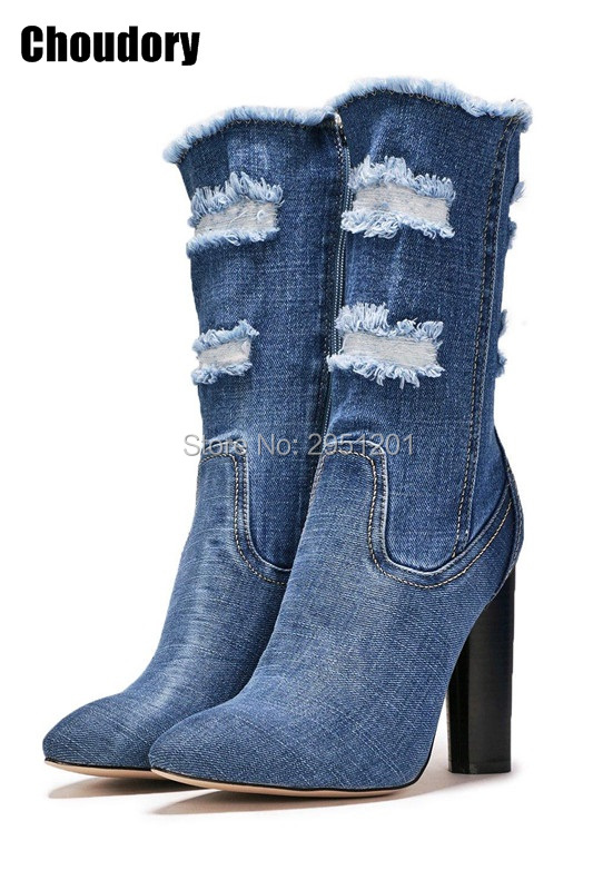 2017 spring summer women vogue denim boots retro cut-outs jeans open toe sandal boots mid-calf stieltto High heel dress pumps