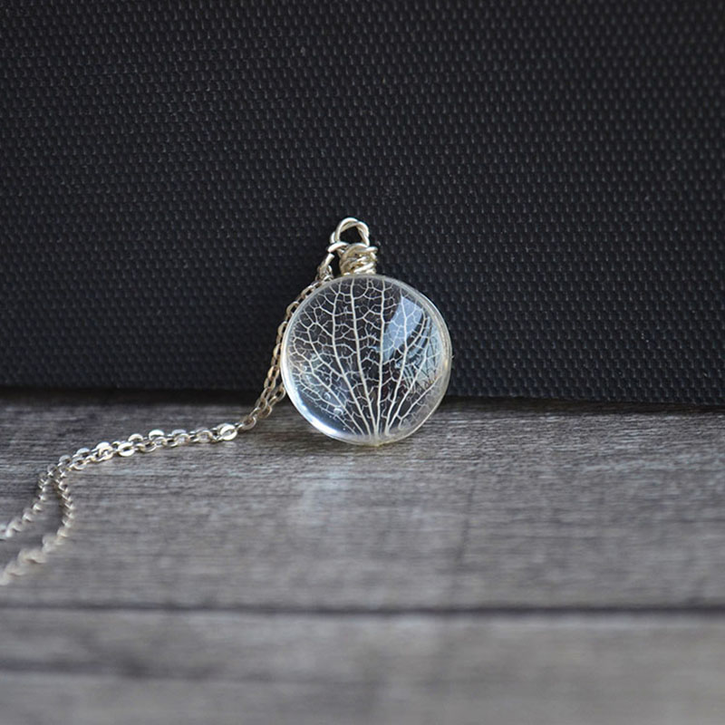 Kabbalah Tree Of Life Leaf Vein Real Flowers 925 Sterling Silver Chain Statement Halskjede Kvinner Choker Smykker Boho Bohemian