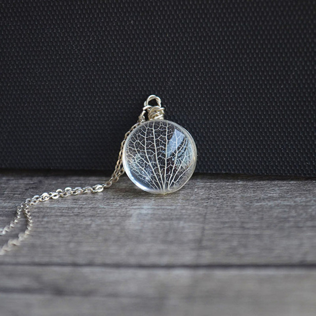 Kabbalah Tree Of Life Leaf Vein Real Flowers Pendant 925 Sterling Silver Chain Necklace Women Choker Boho Fashion Jewelry