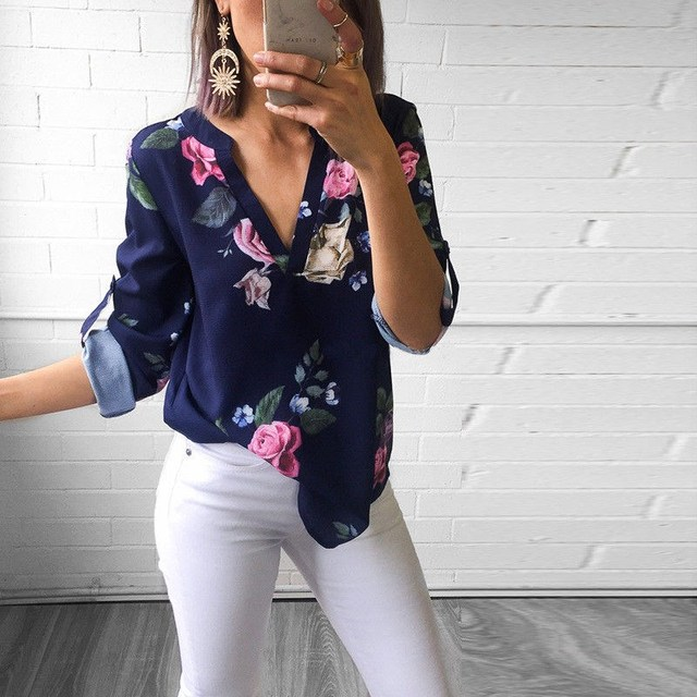 2018 Summer Women Casual Tropical Plants Blouses Green Leaves Shirt Sexy Long Sleeve V-neck Loose Shirt