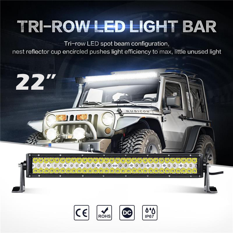 Oslamp Triple-Row 6000K CREE Chips 22inch Straight LED Light Bar Spot+Flood Combo Beam Offroad Led Work Driving Light for PickUp oslamp triple row 6000k cree chips