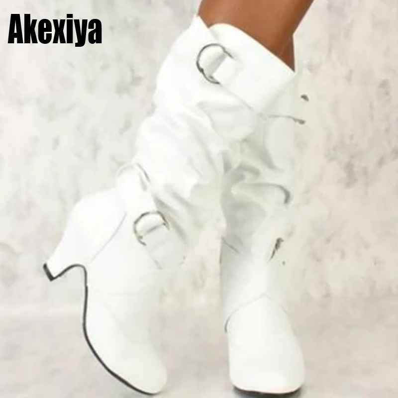 2019 Fashion Mid Calf Spike High Heels White Black Ridding Western Boots Street Goth Ladies Shoes Plus Size Womens Boot