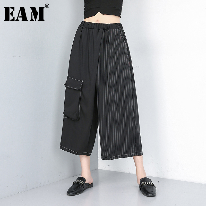 [EAM] 2019 New Spring Summer High Elastic Waist Black Striped Split Joint Hit Color   Wide     Leg     Pants   Women Trousers Fashion JU079