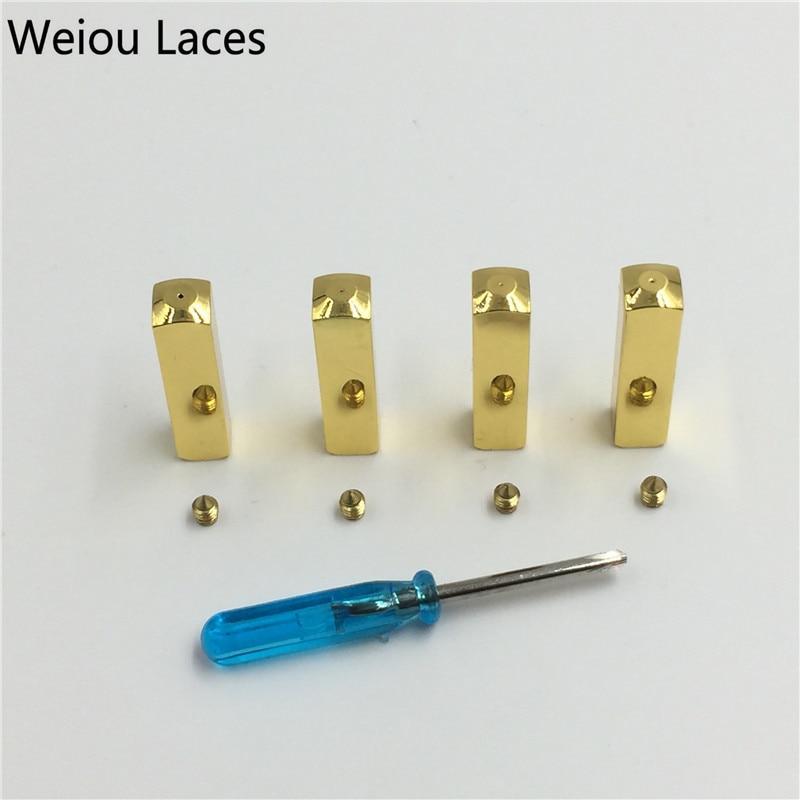 Weiou (4pcs/1Set) DIY Luxury Screw On Metal Aglet Replacement Shoelaces Metal Tips Mirror Gold Silver Gunmetal Head For Sneakers