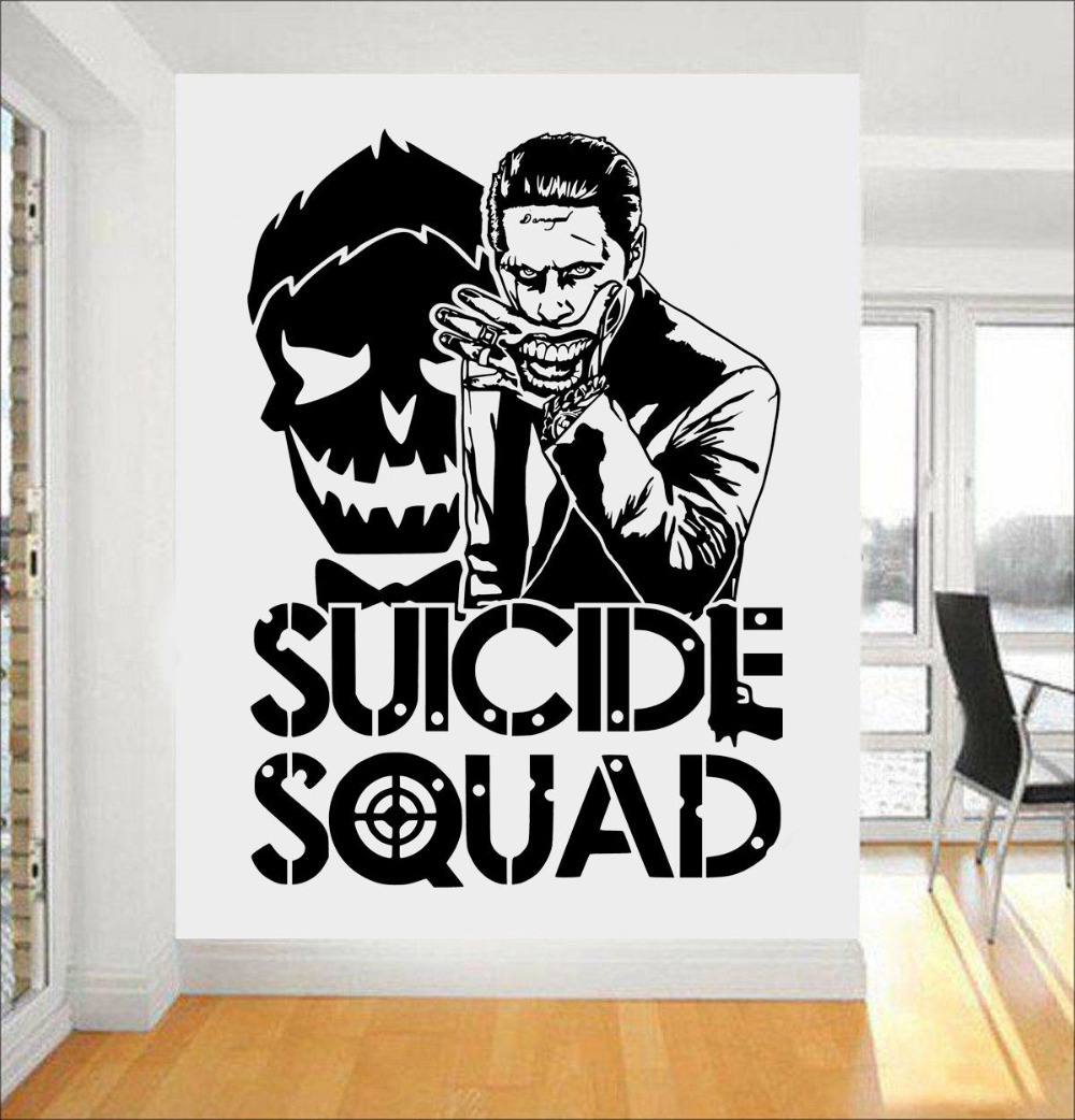 Joker suicide squad wall art sticker fashion design wall for Stickers de pared