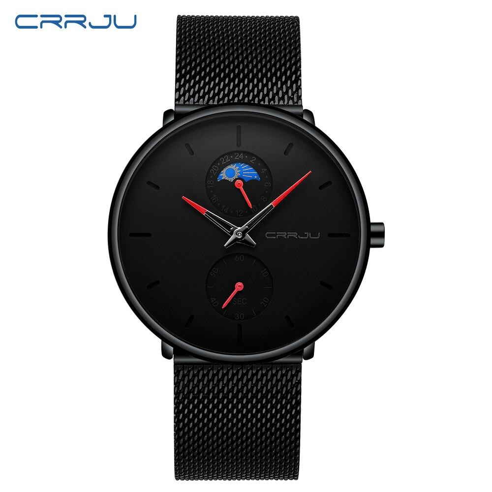 CRRJU Relogios Masculino montre à Quartz décontracté japon montre noire en acier inoxydable Ultra mince horloge mâle 24 heures affichage 2019