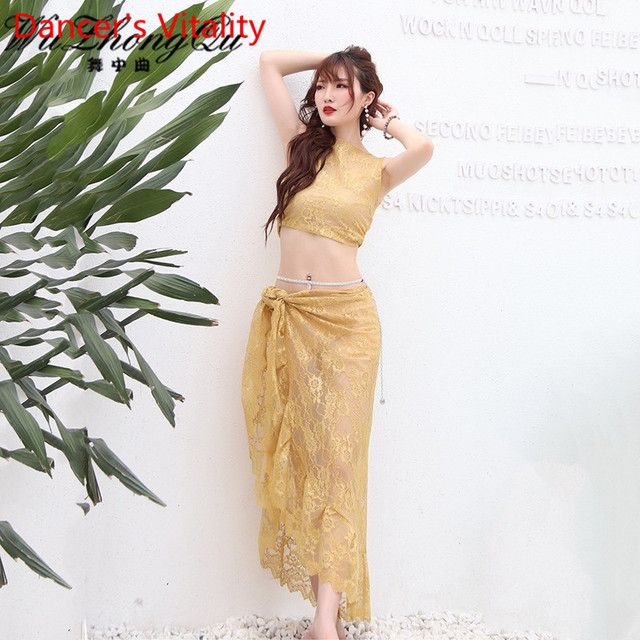 Belly Dance Practice Clothes 2019 New Sleeveless Top Hip Scarf Set Summer Beginner Indian Oriental Dance Wear Elegant Costume