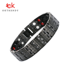 Oktrendy Energy Magnetic Bracelet Men Black Chain Germanium Bracelet Male Hologram Stainless Steel Bracelet Bangle for Women Men stainless steel hologram bracelet germanium balance energy care magnetic power health bracelets bangles