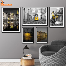 Paris River House London City Train Wall Art Canvas Painting Nordic Posters And Prints Pictures For Living Room Decoration