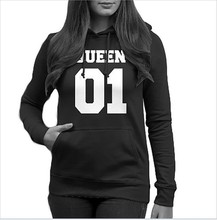 King Queen Sweatshirt Women Valentines Day  Hoodies Rose Love Streetwear Oversized Clothing Plus
