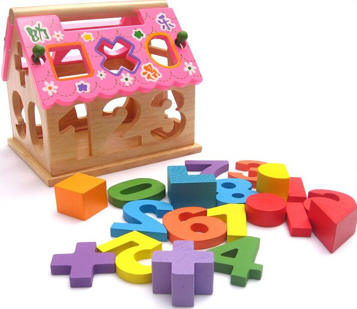 Learning Educational Wooden Toys Digital Number Shape Blocks Box Sorting Matching Towable Montessori Gifts