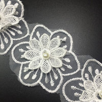 15 yards/ Piece 3D Eugen Yarn Embroidered Double Lace Nail Beads Flowers Clothing Lace Fabric Applique Trimming Sewing Supplie