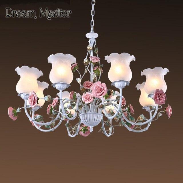 Romantic Pastoral Style Rose Chandelier Iron Flower Lights - Flower lights for bedroom