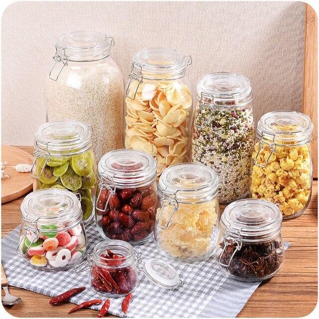 RSCHEF 1pcs glass storage bottles jars with lid large capacity honey