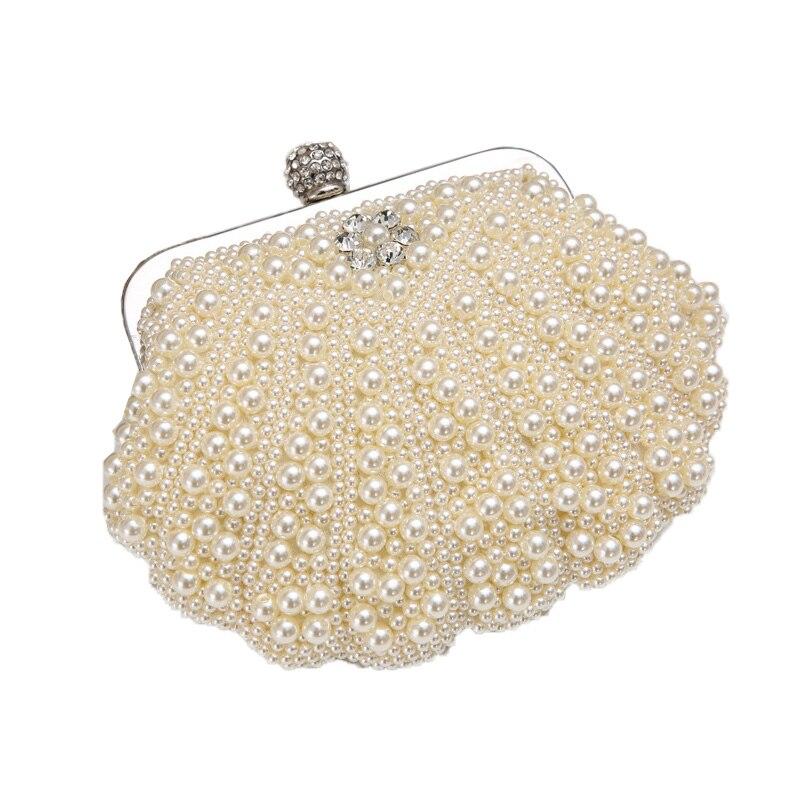 Nueva Moda de Concha de Perla Diamante de Embrague Noche Bolsa Bolso de la Señor