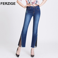 FERZIGE High Waist Woman Jeans Embroidered Dark Light Blue Elastic Slim Fit Flares Cropped Washed Thin
