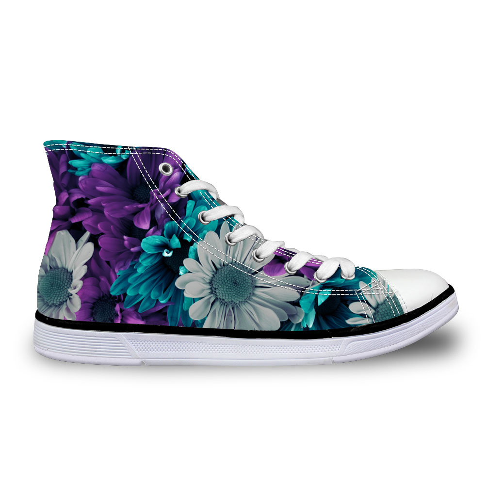 Noisydesigns Men sneakers Casual dark purple flowers 3D print flat vintage Canvas Vulcanized shoes high top lace up flats boys vintage blooming flowers lace baggy beanie