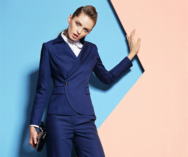 Custom made Royal Blue Women Business Suits Formal Office Pants Suits Work Wear Ladies One Button suit