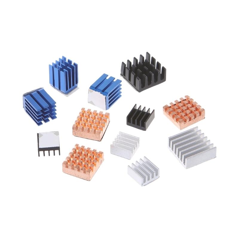 BGEKTOTH 12 Pcs/Set Heat Sink Aluminum Copper Radiator Cooler Kit For Raspberry Pi 2 / 3 цена