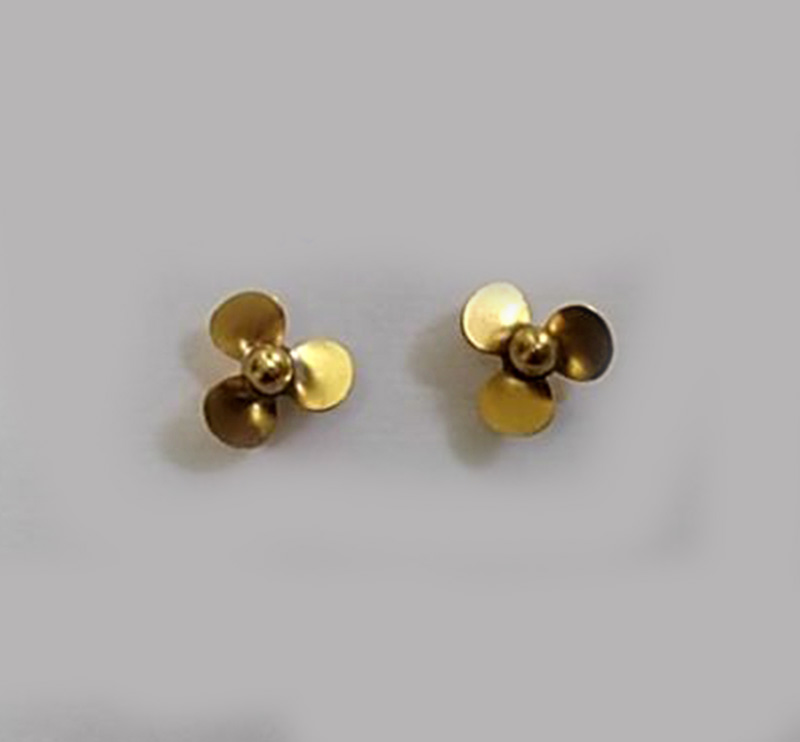 Marine 3 Blades Propeller 2mm Shaft Paddle Diameter 14mm CW/CCW Brass Props Spare <font><b>Parts</b></font> for 1/350 1/<font><b>700</b></font> Ratio RC Boat DIY Model image