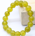 shitou 001033 Natural 10mm Peridot Jade Round Beads Elastic Bangle Bracelet 7.5'' 2pc