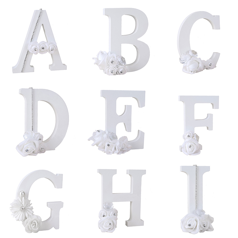1Pcs A-Z Diamond Flower English Letters Standing Wedding Decoration DIY Name Alphabet Handcrafts Ornaments Home Decor