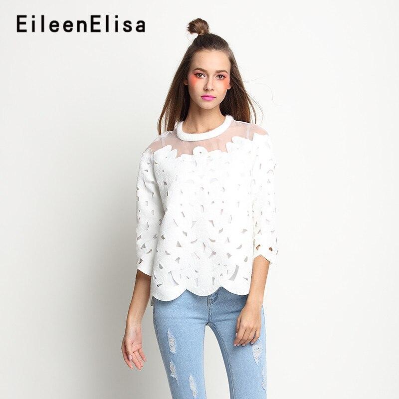 2018 Blouses Sexy hauts blanc élégant pétale Blouse femmes creux Style décontracté o-cou chemises