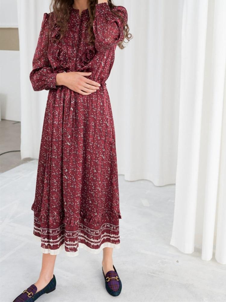 2019 nuevo vestido Maxi de mujer rojo vino Vintage con volantes de manga larga vestidos largos de vacaciones-in Vestidos from Ropa de mujer    1