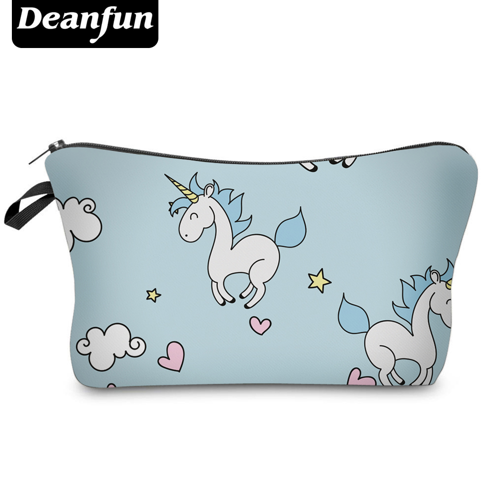 Deanfun Fashion Brand Unicorn Cosmetic Bag 2017 New Fashion 3D Printed Women Travel Makeup Case H89 deanfun travel cosmetic bag 2016 hot selling women brand small makeup case 3d printing christmas gift water pig h46