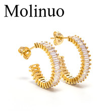 Molinuo fashion AAA rectangular cubic zirconia earrings shiny delicate golden color ladies exquisite cz jewelry