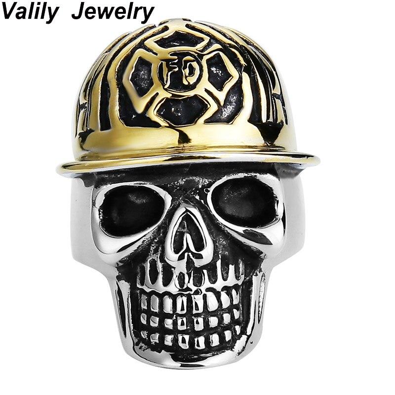 Valily Jewelry Для Мужчинs FD череп Кольца Нержавеющаясталь в стиле панк позолота шляпа Кольца персонализированные для Для мужчин Jewelry размер США