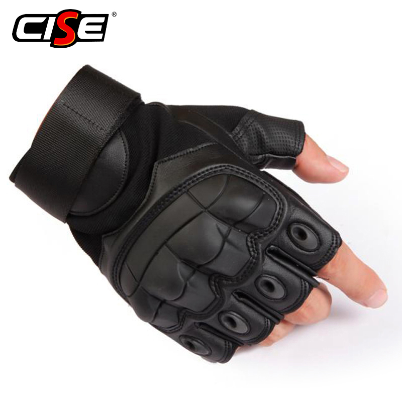 PU Leather Motorcycle Fingerless Glove Military Tactical Cycling Motorbike Motocross Hard Knuckle Half Finger Protective Gear james mcdonagh quinn knuckle